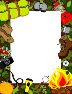 .De colònies Page Boarders, Boarders And Frames, Camping Parties, Camping Theme, Printable Frames, Classroom Art Projects, Background Design Vector, Outdoor Activities For Kids, Borders For Paper