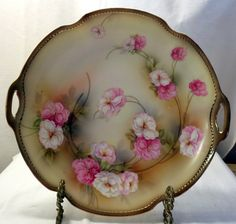 RS Germany Floral Embossed Gold Edges Plate Platter with Handles