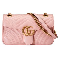 Gucci Gg Marmont Matelassé Shoulder Bag (€1.730) ❤ liked on Polyvore featuring bags, handbags, shoulder bags and light pink