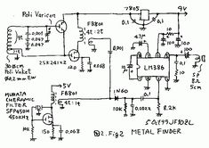 Circuit diagram for a Homemade metal detector, and a description of the design of the detector base and precious metals Homemade metal detector. As buffer Metal Detektor, Metal Detector Reviews, How To Make Metal, Gold Detector, Electronic Circuit Projects, Metal Detecting, Circuit Diagram, Metal Detector