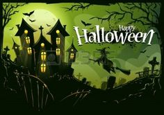 Halloween with witch flying to castle. Cemetery landscape, scary trees, bats and road house.Vector illustration.