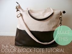 Dindin Does...: Color Block Tote TUTORIAL !