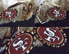 49er's beaded medallion Native American Beading, Native American Jewelry, Bead Loom Patterns, Beading Patterns, Native Beadwork, Loom Beading, Nfl Football, Jewelry Ideas, Hockey