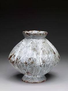 """Randy Johnston """"Lobed vase"""" nuka glaze with iron slip and wax resist brushwork, stoneware"""