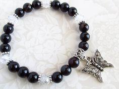 SALE - Black agate stretch bracelet, butterfly charm, gemstone bracelet, black bracelet, butterfly bracelet,Valentines day,stretchy bracelet
