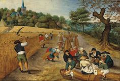 1623 Pieter Brueghel the Younger - Summer: The Harvesters.  In this version the male harvester has his scythe raised.  In other versions it is low to the ground.