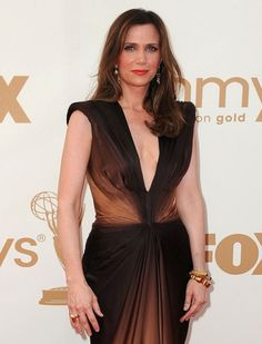 Kristen Wiig In Long Brown Dress At Emmy Awards