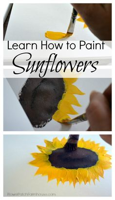 A step by step on how to paint sunflowers in acrylic paints. This is a great painting tutorial for beginning painters and even kids. Learning how to paint sunflowers is not only fun it is very easy. Painting Lessons, Painting Tips, Painting Techniques, Painting Tutorials, Tole Painting, Painting & Drawing, Drawing Hair, Easy Flower Painting, Art Mural