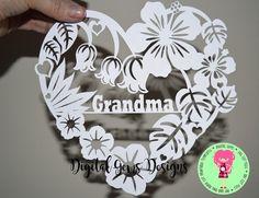 Grandma Flower Papercut Template SVG / DXF Cutting by DigitalGems