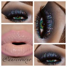 Starry Night eye makeup with pink nude lips, gorgeous!