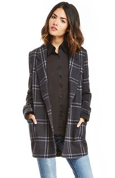 JOA Classic Plaid Collar Jacket in Charcoal XS - L | DAILYLOOK