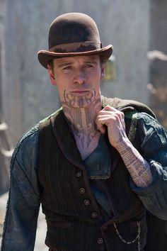 Michael Fassbender as Burke in Jonah Hex, Dir. Jimmy Hayward (2010). Not one of his successful movies.