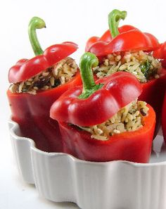 One Perfect Bite: Red Peppers Stuffed with Orzo and Feta Cheese  A very filling and tasty vegetarian meal! Very greek :)