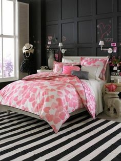 Intro Teen Vogue Bedding Faded Heart With Striped Carpet, dining room color ideas, living room colors ~ Home Design Dream Rooms, Dream Bedroom, Home Bedroom, Bedroom Ideas, Bedroom Designs, Bedroom Interiors, Pretty Bedroom, Bedroom Decor, Bedroom Black