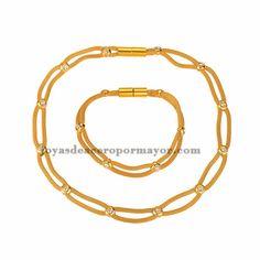 collar y pulsera de bolitas dorado para mujer-SSNEG81900