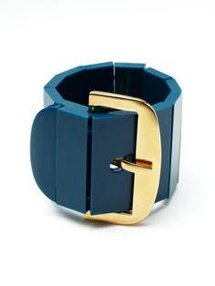 Blue & Gold Buckle Stretch Bracelet by Kate Spade: On sale $42 #Kate_Spade #Bracelet