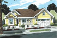 Ranch Style House Plans - 998 Square Foot Home , 1 Story, 3 Bedroom and 2 Bath, 2 Garage Stalls by Monster House Plans - Plan 11-330