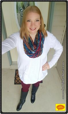 Maroon leggings make for a simple but bold outfit on the blog today!