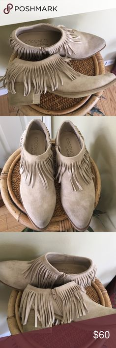 """COCONUTS DISTRESSED FRINGED BOOTIE Brand new without tags or box. Distressed Western-inspired style with a pointed toe and faux wooden heel. (These are made to look worn). (1st photo is a stock photo) 2"""" heel (size 8.5). Side zip closure. Textile upper and lining/synthetic sole.🚫TRADES 🚫LOWBALL OFFERS WILL BE DECLINED coconuts Shoes Ankle Boots & Booties"""