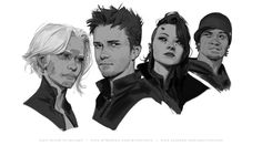 ArtStation - Last of March doodles, John Grello Character Portraits, Character Drawing, Character Concept, Concept Art, Character Design, Amazing Drawings, Art Drawings, Human Face Sketch, Cyberpunk Character