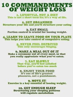 10 commandments of weight loss