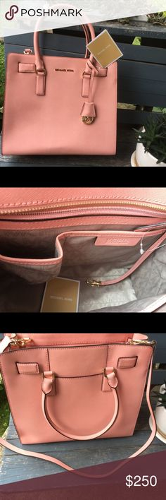 Michael kors!! Brand new! Authentic 13x11. Pink Brand new Michael Kors pink purse. 13x11 shoulder strap and cross body strap. Michael Kors Bags Totes