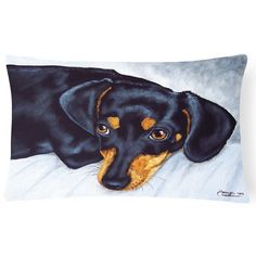 Carolines Treasures Black and Tan Dachshund Rectangular Decorative Outdoor Pillow - AMB1079PW1216