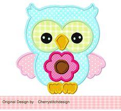 Chouette fleur Applique -4 x 4 5 x 7 6 x 10-Machine Embroidery Applique Design