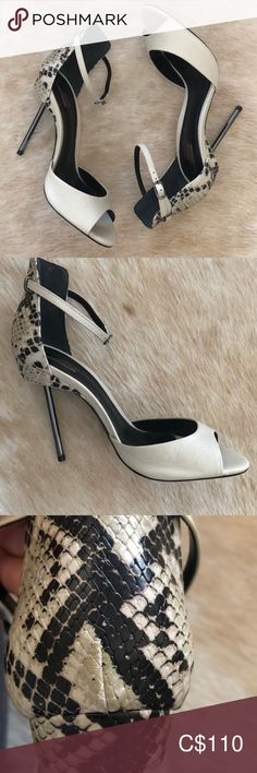 Schutz printed open toed heels Schutz nude leather with snake printed heel. Never worn, tags still on SCHUTZ Shoes Heels Blue Suede Pumps, Pink Heels, Lace Up Heels, Black Pumps, Shoes Heels, Stiletto Pumps, Pointed Toe Pumps, Rebecca Minkoff Clutch, Tan Strappy Sandals