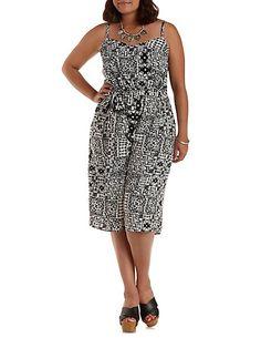 Plus Size Tile Print Culotte Jumpsuit: Charlotte Russe #charlotterusseplus #charlotte0to24 #plussize