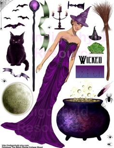 Penelope The Witch Digital Collage Sheet JPG by indigochyld, $3.00