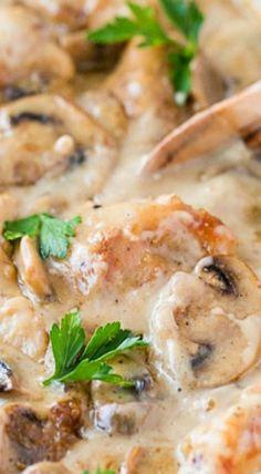 Chicken and Mushroom Casserole recipe. @natashaskitchen