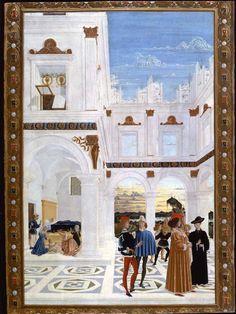IL PERUGINO (attr.) e il Pinturicchio - Miracolo del bambino nato morto, da storie di San Bernardino - 1473 - Galleria Naz. dell'Umbria Perugia