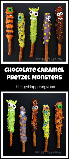 Make cute and quirky Chocolate Caramel Pretzel Monsters for Halloween. They are … Make cute and quirky Chocolate Caramel Pretzel Monsters for Halloween. They are quick and easy to create and perfect treats for this holiday. Dessert Halloween, Halloween Desserts, Halloween Food For Party, Halloween Kids, Halloween Stuff, Happy Halloween, Diy Halloween Treats, Halloween Baking, Spooky Treats