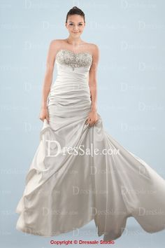 Enchanting Strapless A-line Court Train Wedding Gown with Beads and Pleats