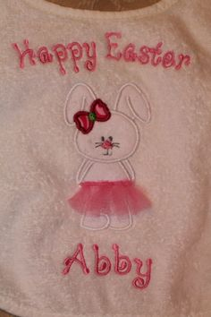 Personalized Terry Cloth  Bib for Baby Boys and Girls Easter or Tshirt or Onsie. $18.00, via Etsy.