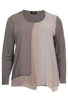 Grote maten dames - merk VIA APPIA DUE - T-shirt taupe | Webshop Nr4
