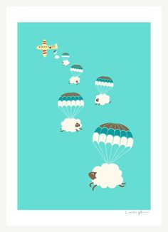 Sheepy Clouds  Print by ilovedoodle on Etsy