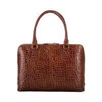 Maxwell Scott The Fiorella Croco Leather Ladies Briefcase Work Bag Chocolate Brown