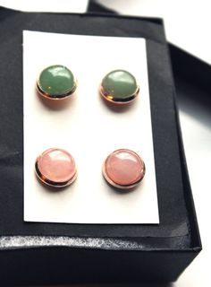 This lovely rose gold stud set will add a touch of casual elegance to your everyday wardrobe! If you love the look of understated, yet elegant jewelry, this set is perfect for you! I also think they would work equally well with both casual and dressier outfits.     The set includes two pairs of studs made from natural 10mm gemstone cabochons (green adventurine and rose quartz) mounted into rose gold plated (copper) post earring settings. The rose gold bezels really bring out the beautiful…