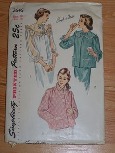 1940s Vintage Bed Jacket Pattern Simplicity 2645 Sz 18 Bust 36 Busy Hands Quilts
