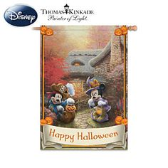 "Disney ""Happy Halloween"" Flag With Thomas Kinkade Art Mickey Mouse Halloween, Halloween Bags, Halloween Items, Disney Halloween, Holidays Halloween, Happy Halloween, Halloween Party, Minnie Mouse, Scary Halloween"
