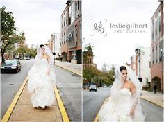 Embrace a windy day, brides. We love these street shots. Very editorial.  Photo by Leslie Gilbert Photography Pinned from www.dreamweddingspa.com