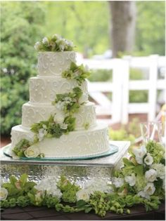 beautiful, elegant pastel green wedding cake.