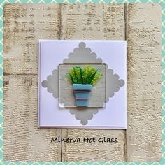 Fused Glass Greeting Card, Handmade, Yellow Flower, Potted Plant, Floral Gifts, Hand crafted by Minerva Hot Glass