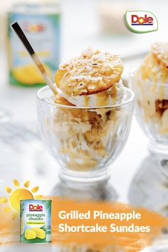 Celebrate #NationalSundaeDay by whipping up this delicious treat that'll have everyone smiling from ear to ear. Dole Pineapple, Pineapple Slices, Just Desserts, Delicious Desserts, Dessert Recipes, Ice Cream 1, Eat Dessert First, Shredded Coconut, Melted Butter