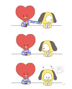Fanarts kookv / BTS - Tata and Chimmy Bts Chibi, Bts Memes, K Pop, Bts Vmin, Bts Drawings, Line Friends, Bts Fans, Kpop Fanart, About Bts