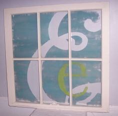 Items similar to Custom Monogram Recycled Window Art on Etsy Painted Initials, Hand Painted, My Home Design, House Design, Window Art, Window Frames, Window Ideas, Diy Letters, Used Vinyl