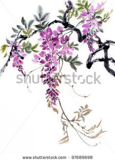 original art Chinese watercolor painting of wisteria - stock photo