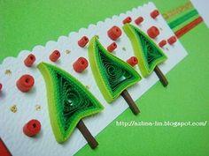 Lin Handmade Greetings Card: Quilled Christmas tree